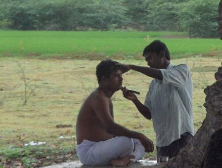 Eldest son getting shaved