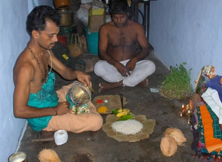 Preparing for mother's puja