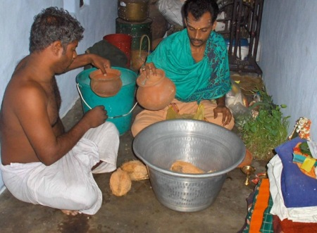 Preparing items for puja at village