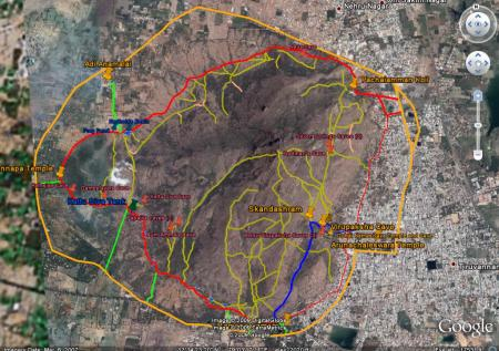 Arunachala Inner Path, caves and landmarks