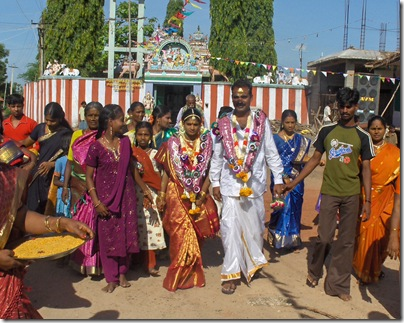 Wedding procession leaving temple