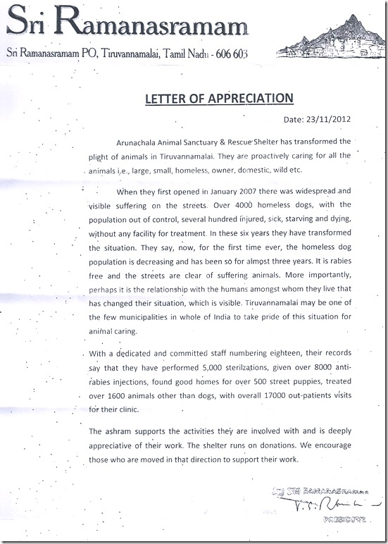 Ramanasramam letter for shelter