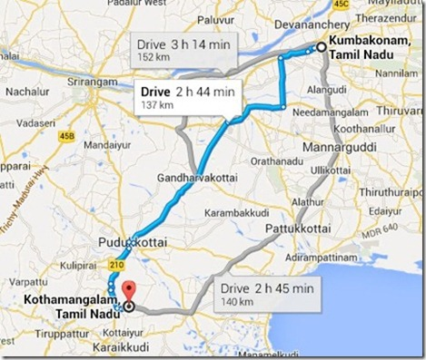 Kumbakonam to small chetanad city