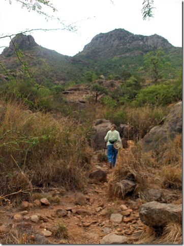 Carol on side path on N side of Arunachala