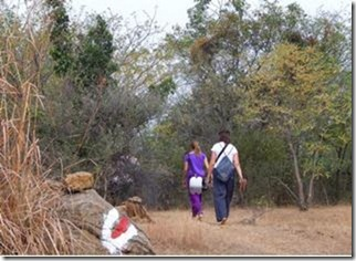 Two foreigners going past a newly drawn paint marking made by miscreants in the inner girivalam path in the reserve forest around Tiruvannamalai hill.